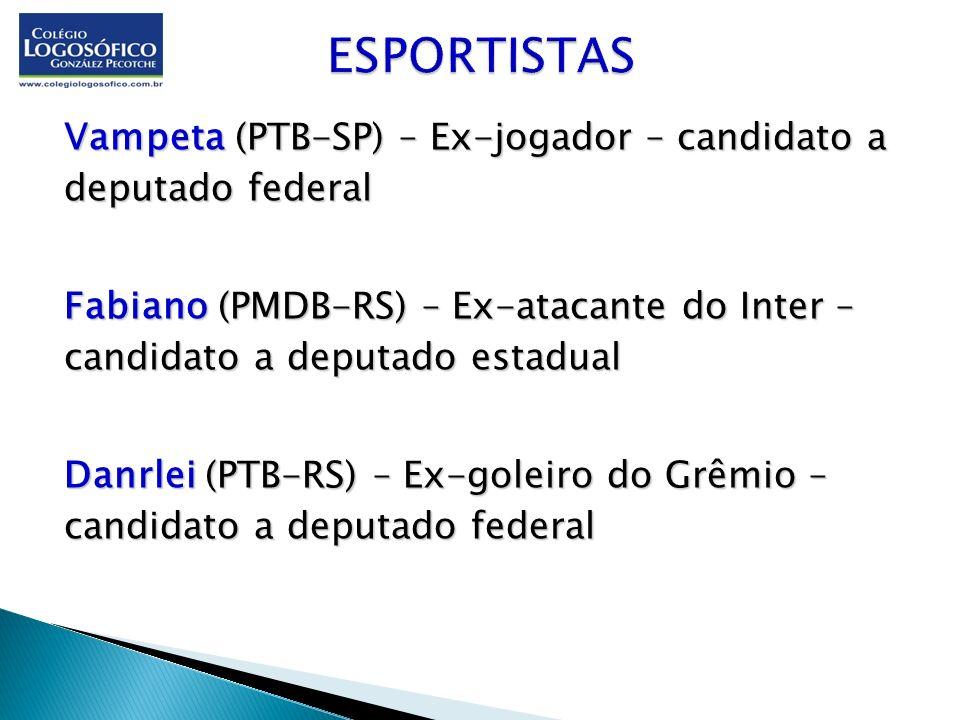 ESPORTISTAS Vampeta (PTB-SP) – Ex-jogador – candidato a deputado federal.