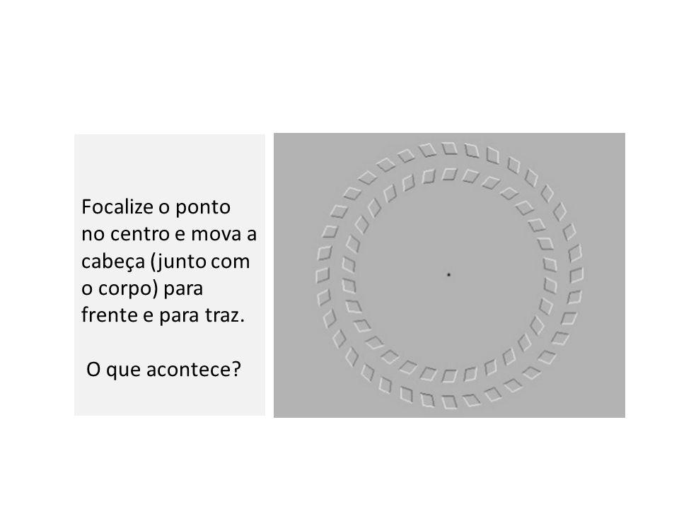 Focalize o ponto no centro e mova a cabeça (junto com o corpo) para frente e para traz.