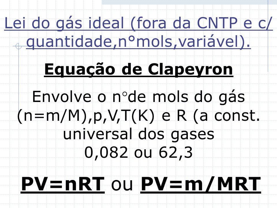 Lei do gás ideal (fora da CNTP e c/ quantidade,n°mols,variável).