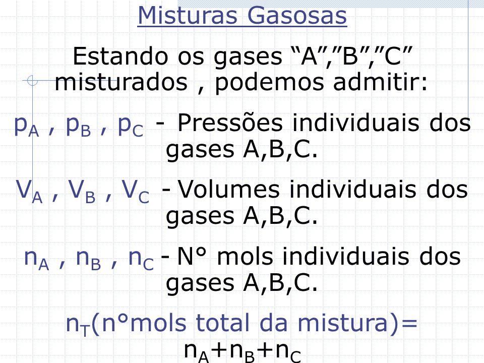Estando os gases A , B , C misturados , podemos admitir: