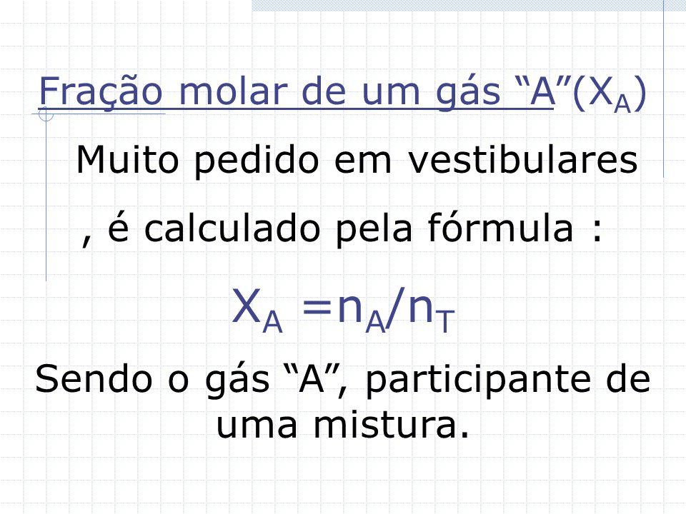 XA =nA/nT Fração molar de um gás A (XA) Muito pedido em vestibulares