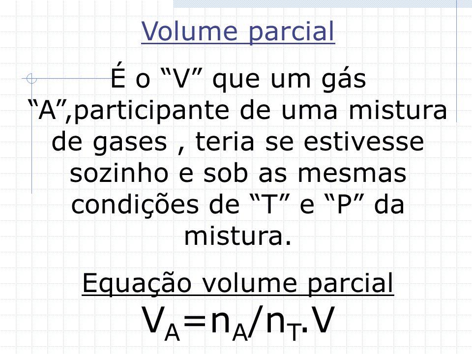 Equação volume parcial VA=nA/nT.V