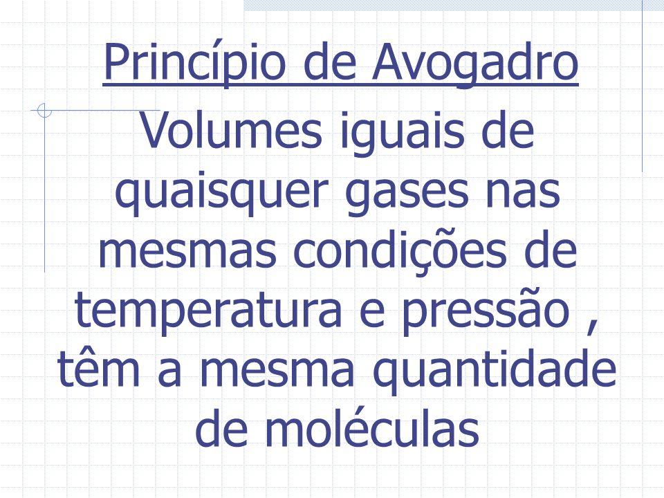Princípio de Avogadro Volumes iguais de quaisquer gases nas mesmas condições de temperatura e pressão , têm a mesma quantidade de moléculas.