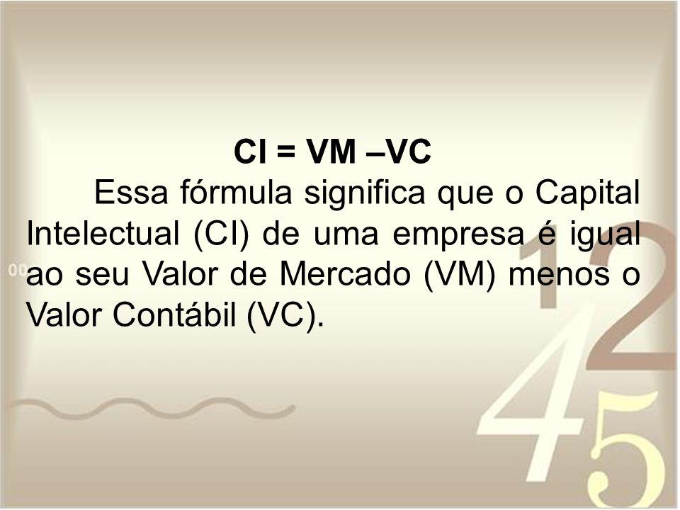 CI = VM –VC Essa fórmula significa que o Capital Intelectual (CI) de uma empresa é igual ao seu Valor de Mercado (VM) menos o Valor Contábil (VC).