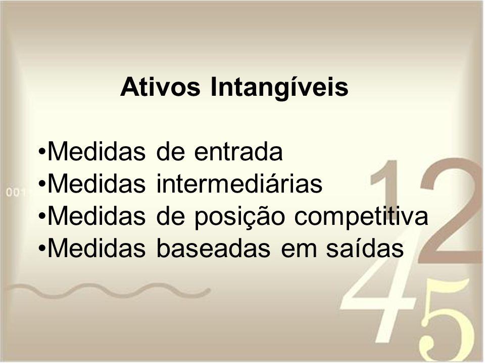 Ativos Intangíveis Medidas de entrada. Medidas intermediárias.