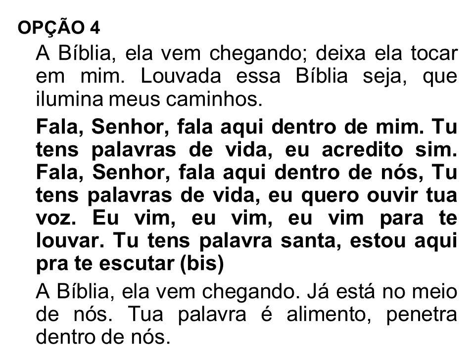 OPÇÃO 4 A Bíblia, ela vem chegando; deixa ela tocar em mim. Louvada essa Bíblia seja, que ilumina meus caminhos.