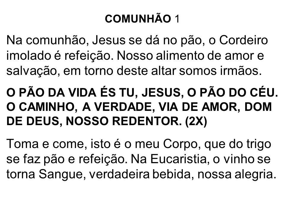COMUNHÃO 1 Na comunhão, Jesus se dá no pão, o Cordeiro imolado é refeição. Nosso alimento de amor e salvação, em torno deste altar somos irmãos.
