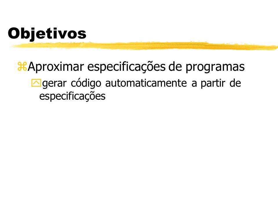 Objetivos Aproximar especificações de programas