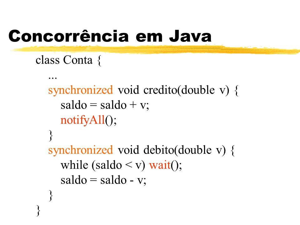Concorrência em Java class Conta { ...