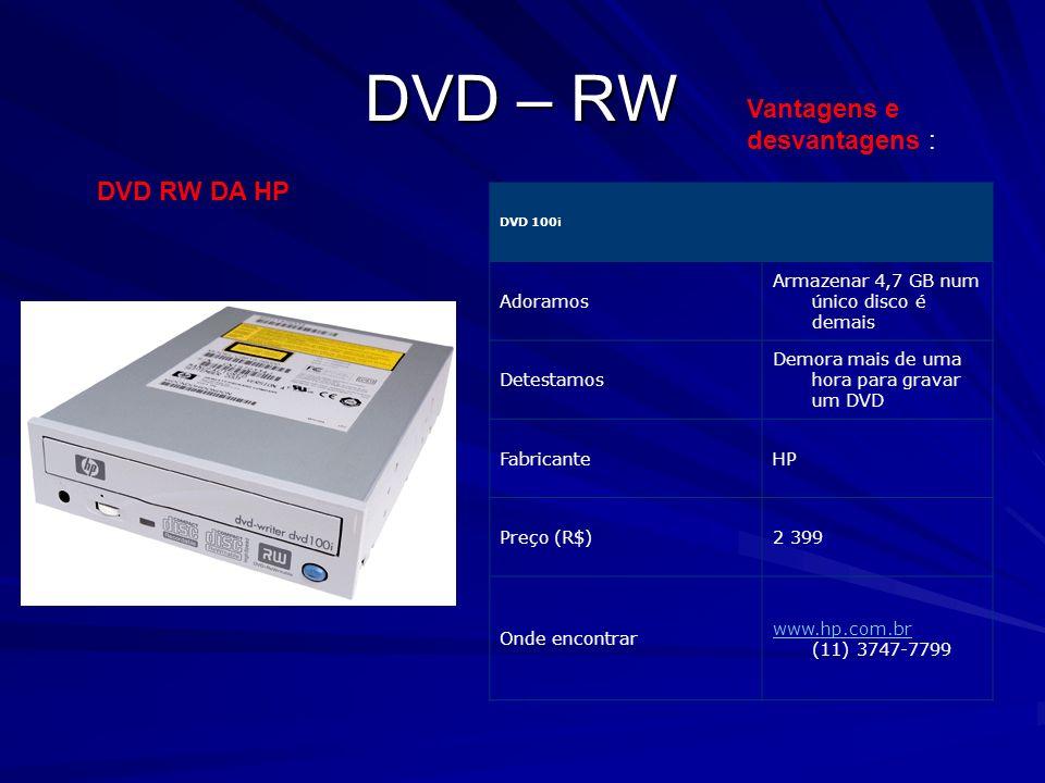 DVD – RW Vantagens e desvantagens : DVD RW DA HP Adoramos