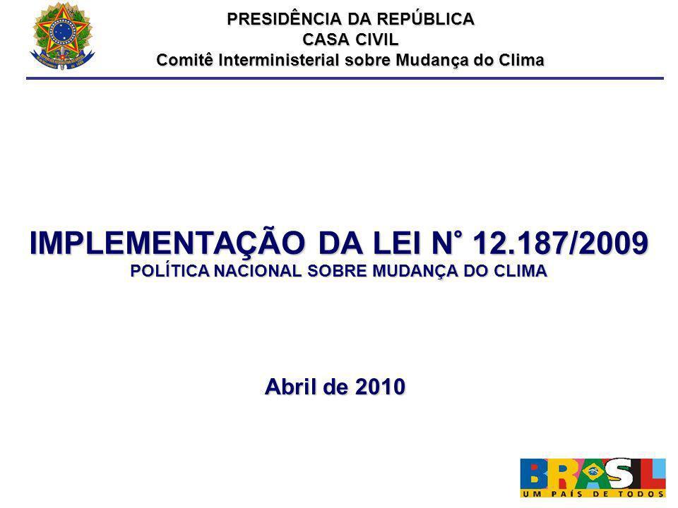 IMPLEMENTAÇÃO DA LEI N° 12.187/2009