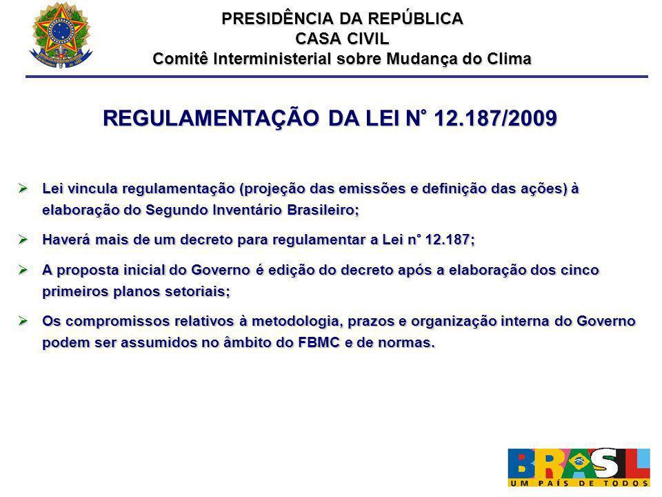 REGULAMENTAÇÃO DA LEI N° 12.187/2009