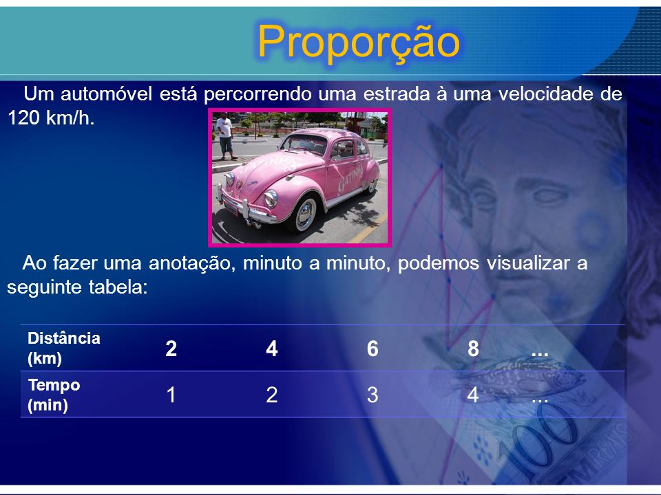 Proporção Um automóvel está percorrendo uma estrada à uma velocidade de 120 km/h.