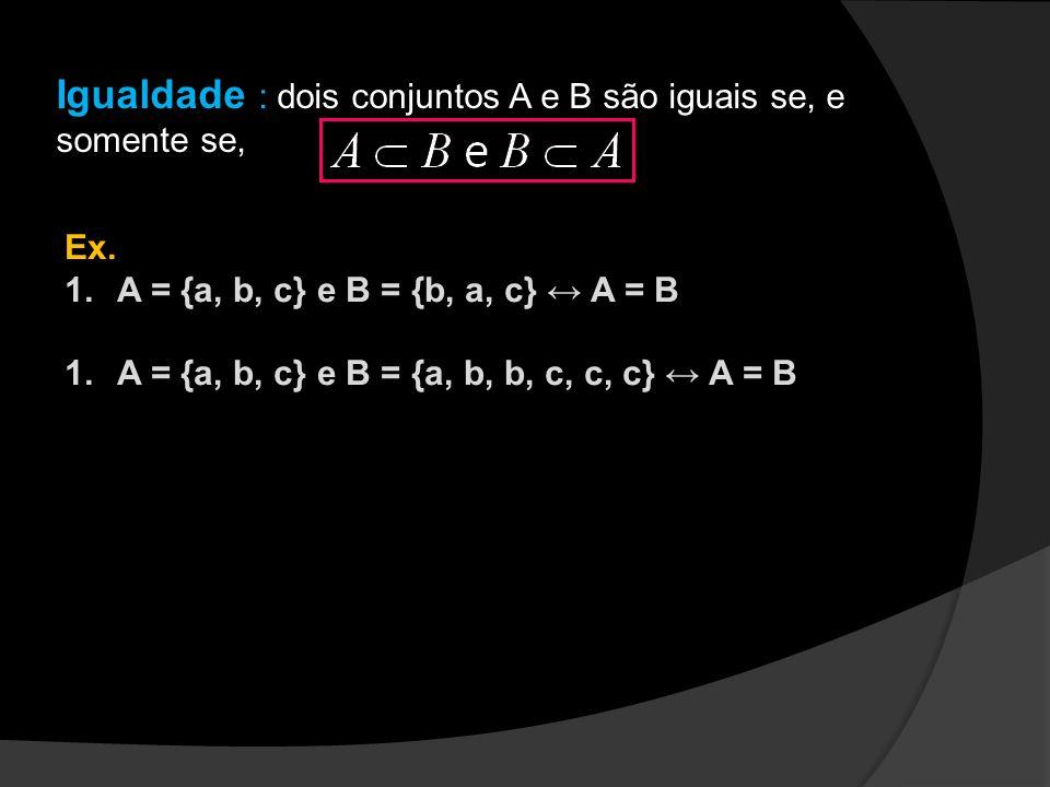 Igualdade : dois conjuntos A e B são iguais se, e somente se,