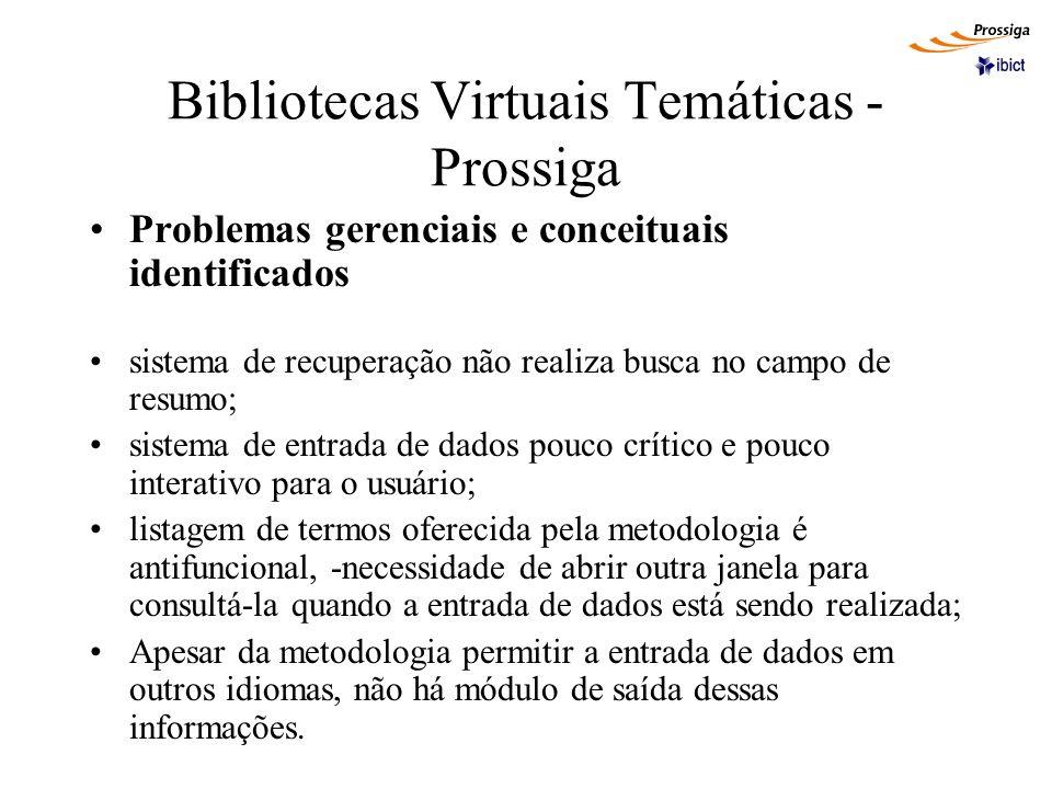 Bibliotecas Virtuais Temáticas - Prossiga