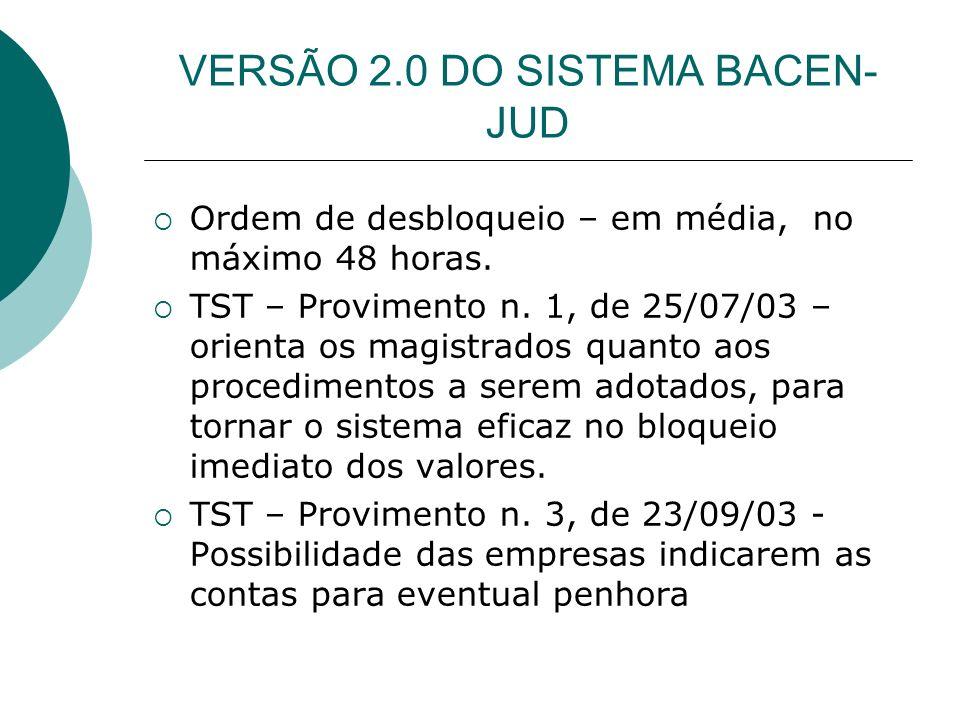 VERSÃO 2.0 DO SISTEMA BACEN-JUD