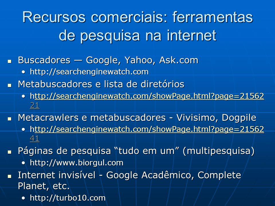Recursos comerciais: ferramentas de pesquisa na internet
