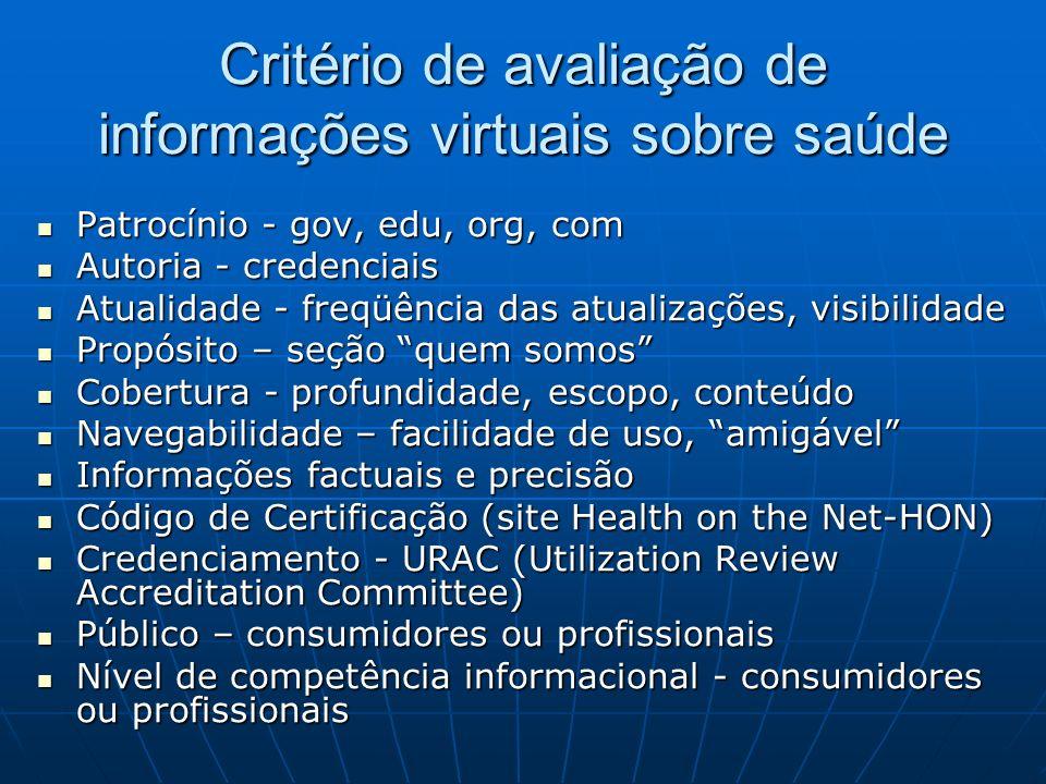 Critério de avaliação de informações virtuais sobre saúde