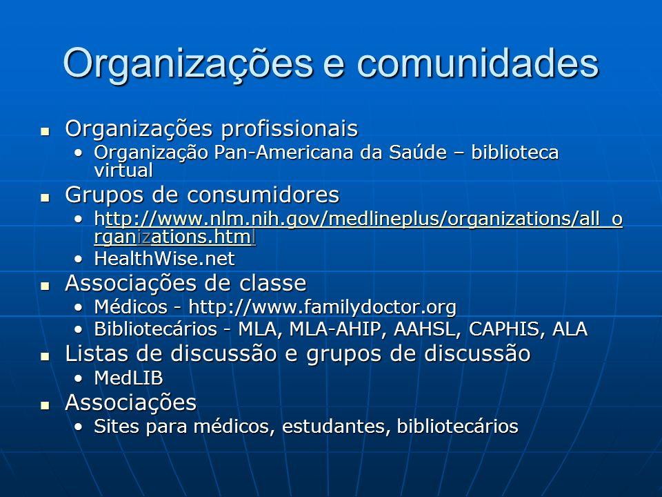 Organizações e comunidades