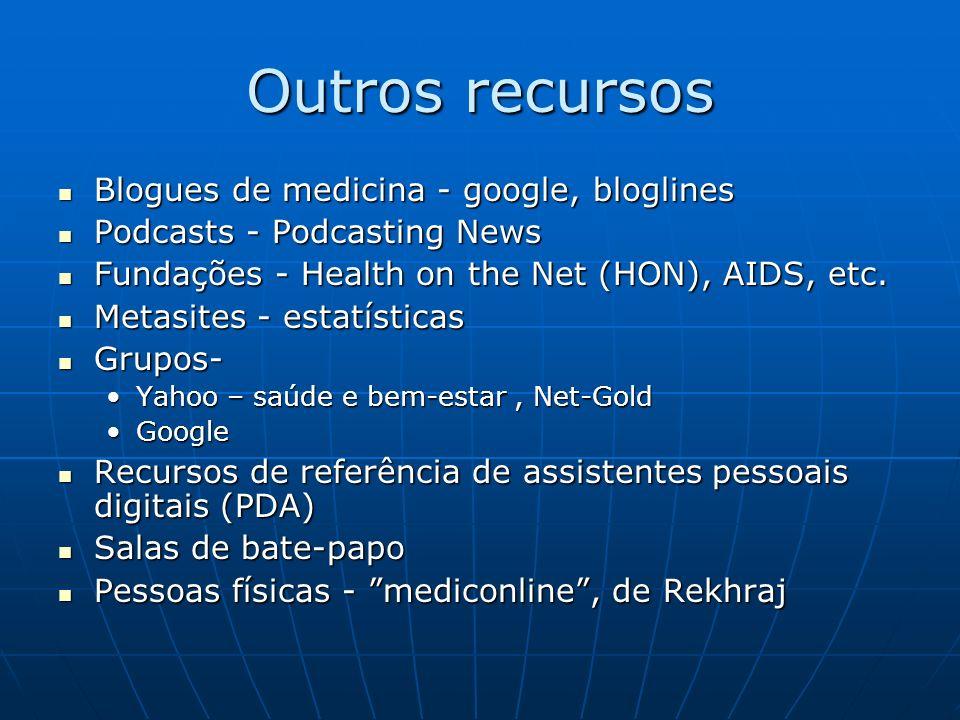 Outros recursos Blogues de medicina - google, bloglines