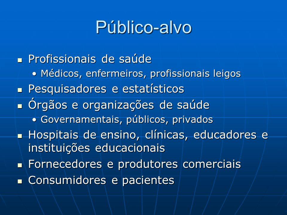 Público-alvo Profissionais de saúde Pesquisadores e estatísticos