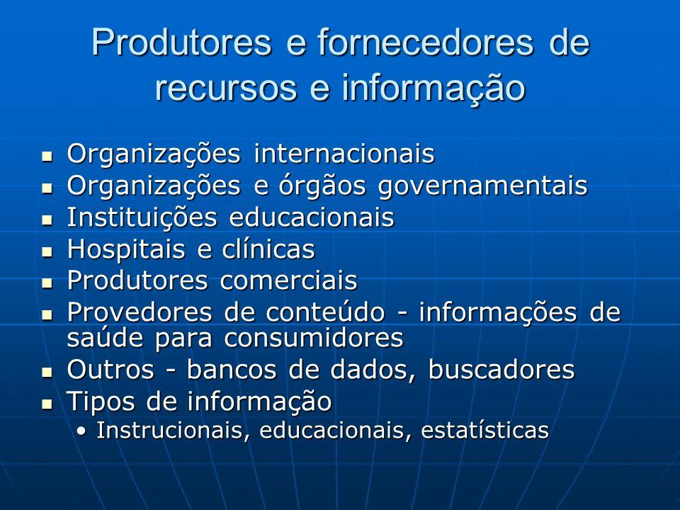 Produtores e fornecedores de recursos e informação