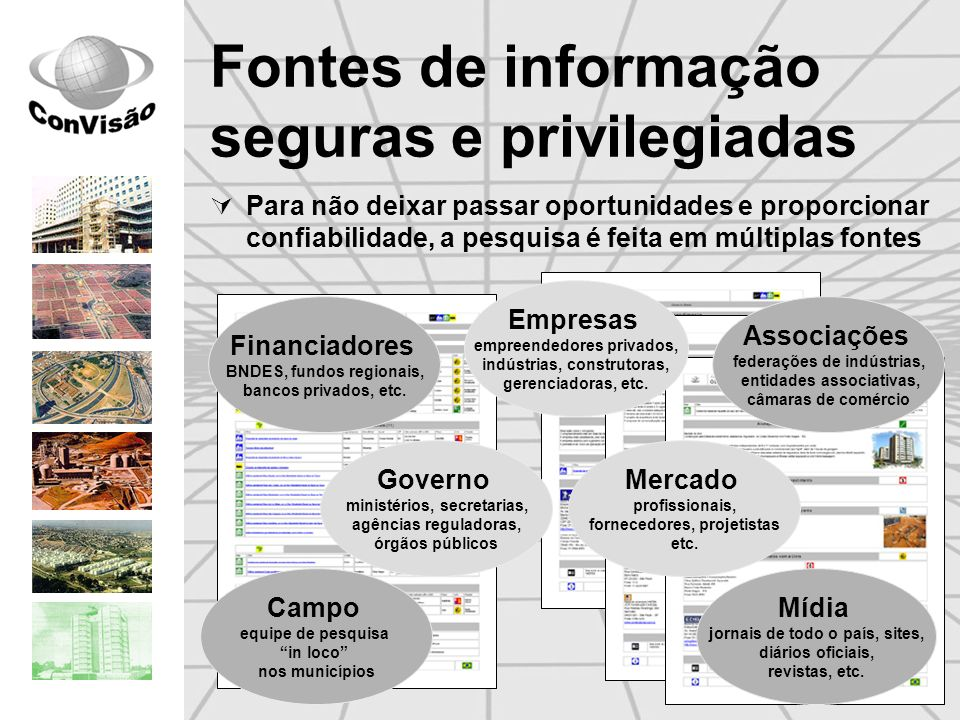 Fontes de informação seguras e privilegiadas