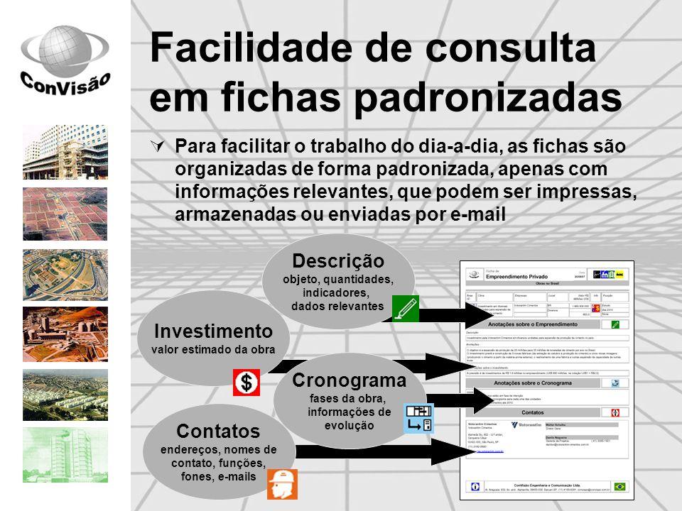 Facilidade de consulta em fichas padronizadas