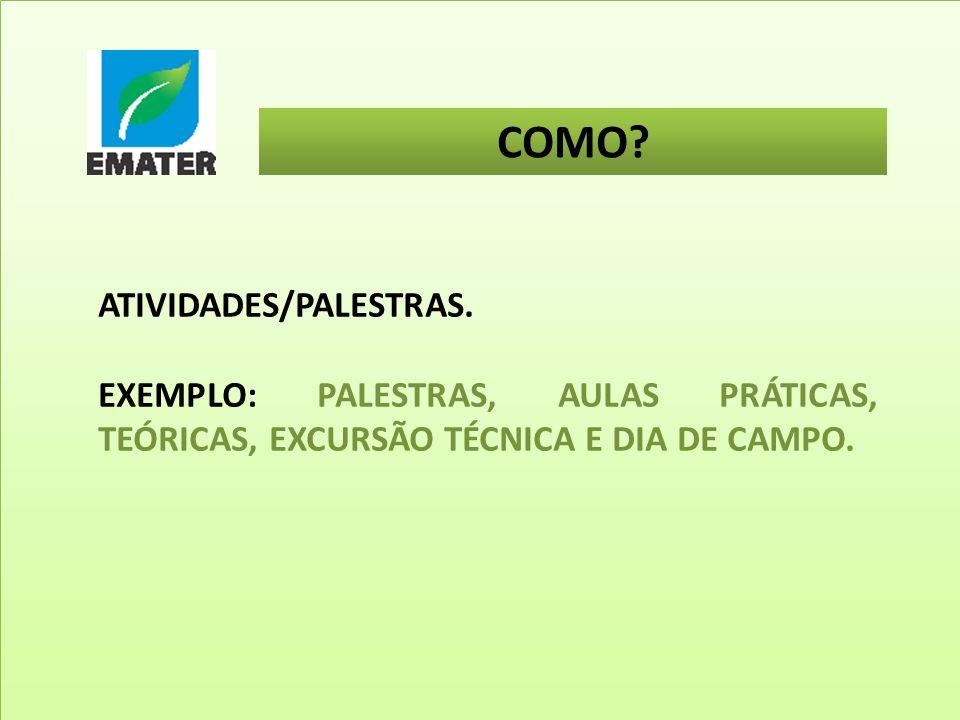 COMO ATIVIDADES/PALESTRAS.