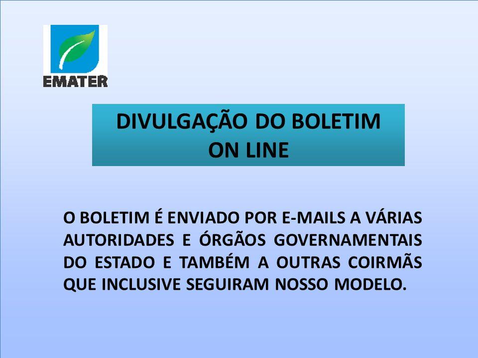 DIVULGAÇÃO DO BOLETIM ON LINE