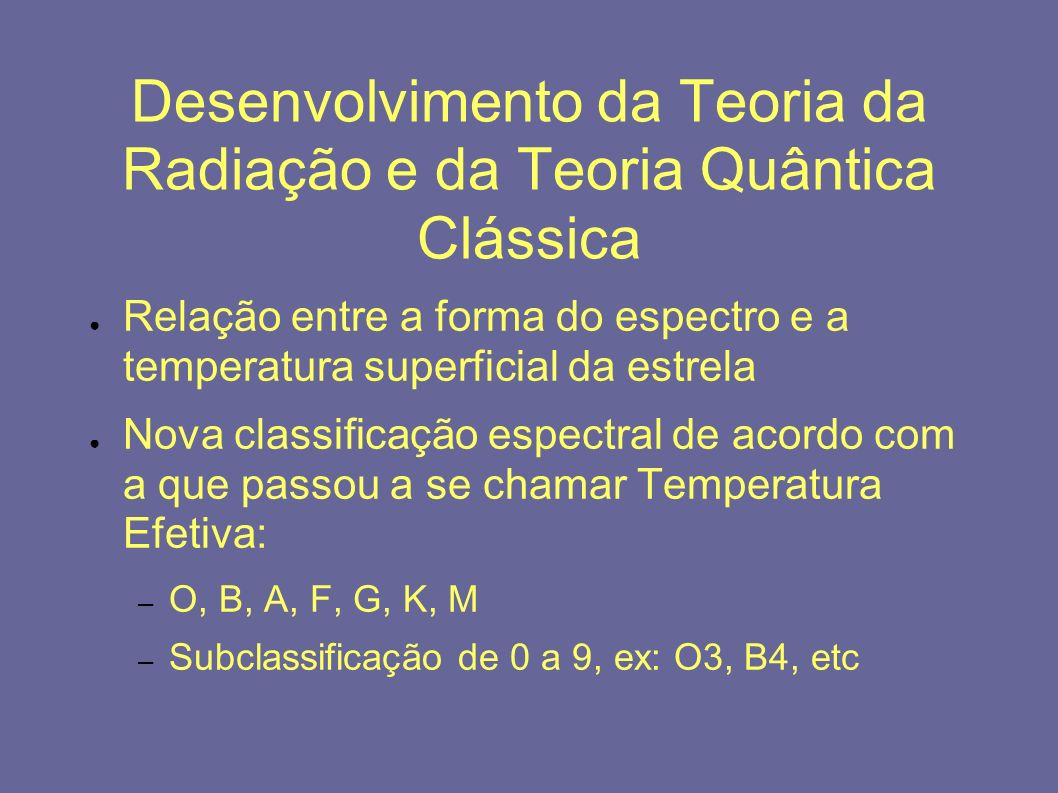 Desenvolvimento da Teoria da Radiação e da Teoria Quântica Clássica