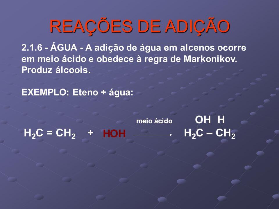 REAÇÕES DE ADIÇÃO H2C = CH2 + H2C – CH2 H OH