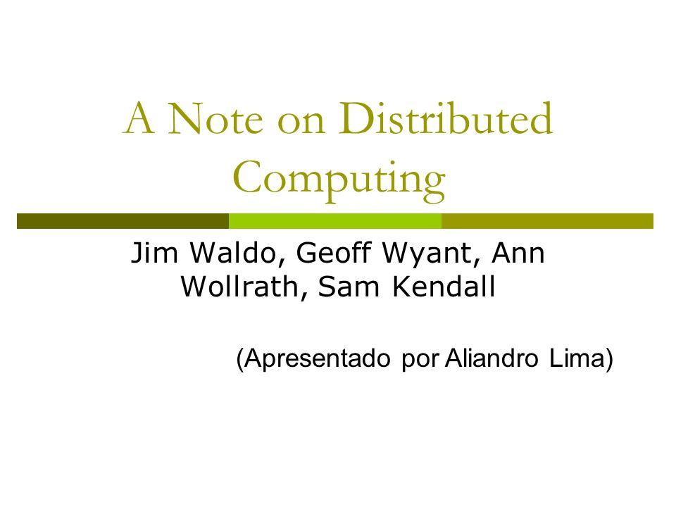 A Note on Distributed Computing