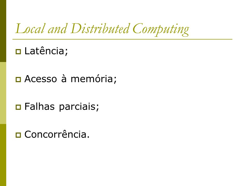 Local and Distributed Computing