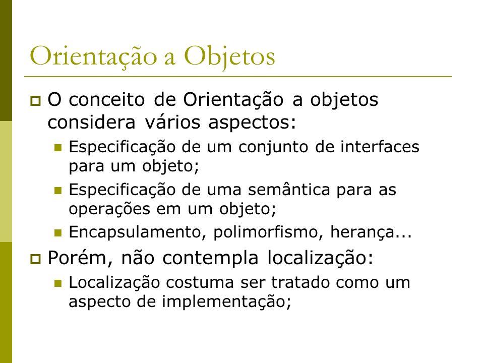 Orientação a Objetos O conceito de Orientação a objetos considera vários aspectos: Especificação de um conjunto de interfaces para um objeto;