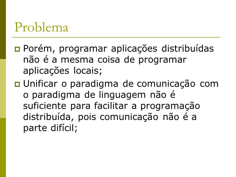Problema Porém, programar aplicações distribuídas não é a mesma coisa de programar aplicações locais;