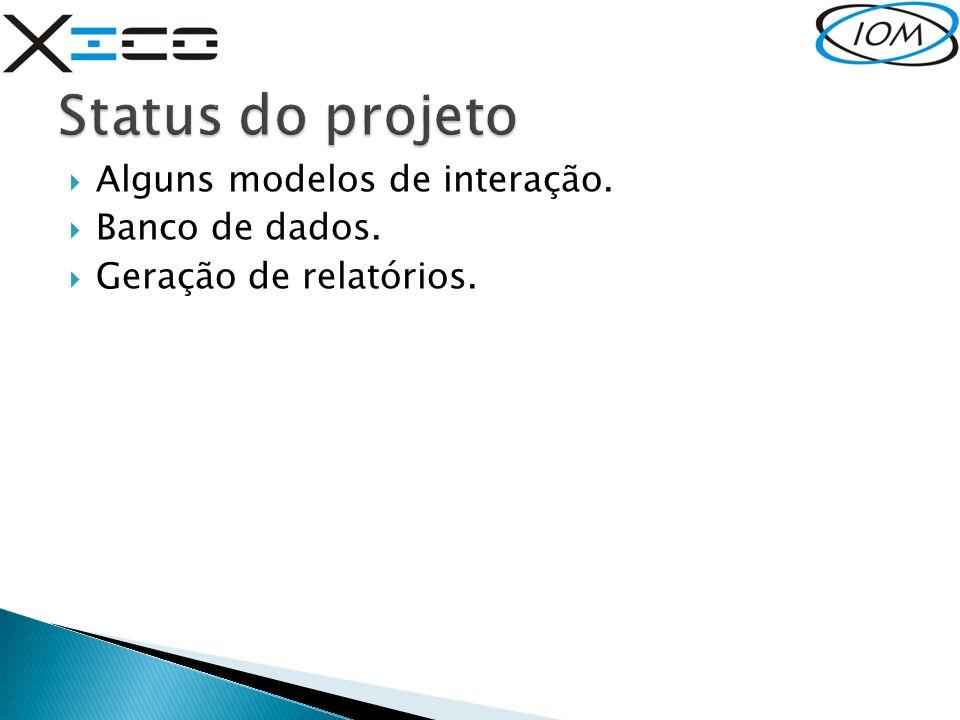 Status do projeto Alguns modelos de interação. Banco de dados.