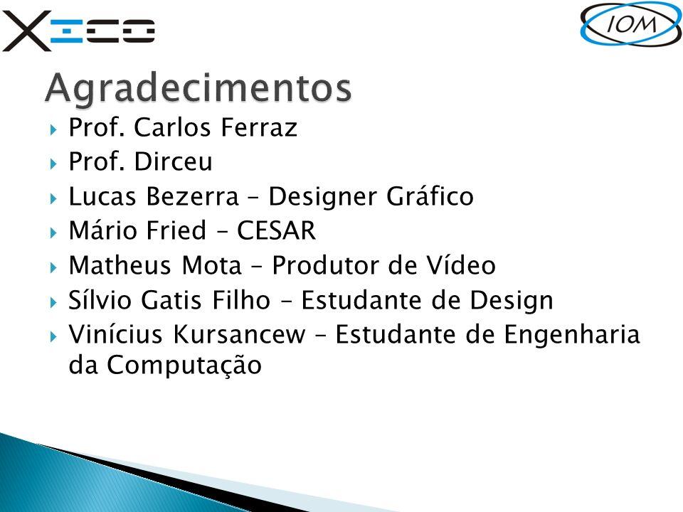 Agradecimentos Prof. Carlos Ferraz Prof. Dirceu