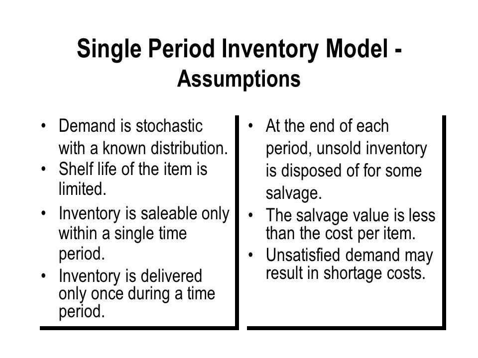Single Period Inventory Model - Assumptions