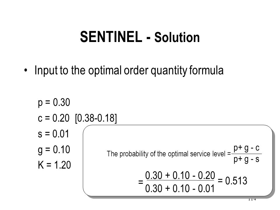SENTINEL - Solution Input to the optimal order quantity formula