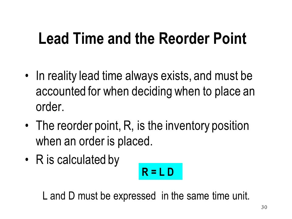 Lead Time and the Reorder Point