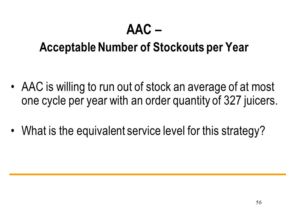 AAC – Acceptable Number of Stockouts per Year