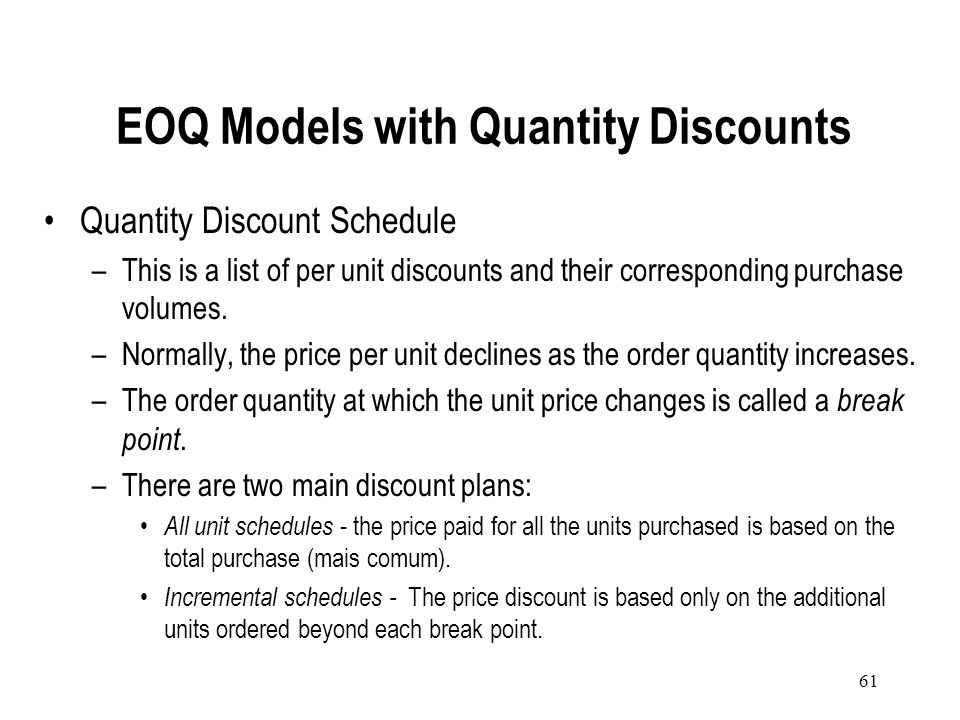 EOQ Models with Quantity Discounts