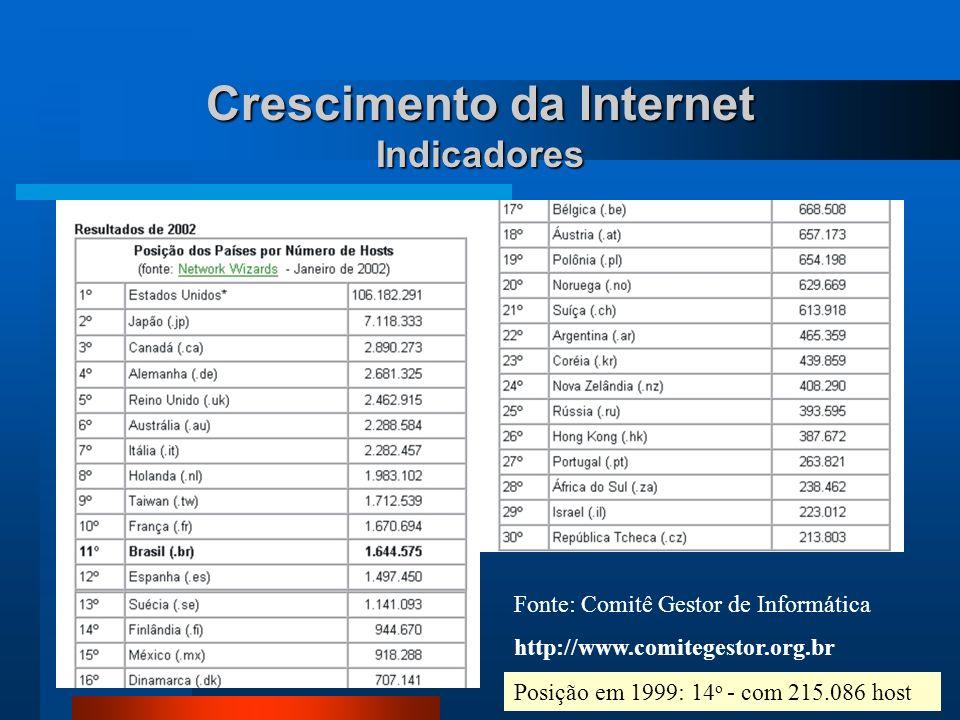 Crescimento da Internet Indicadores