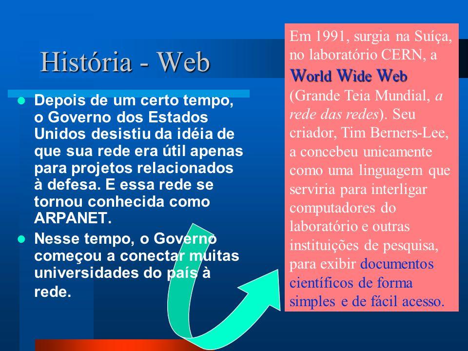 Em 1991, surgia na Suíça, no laboratório CERN, a World Wide Web (Grande Teia Mundial, a rede das redes). Seu criador, Tim Berners-Lee, a concebeu unicamente como uma linguagem que serviria para interligar computadores do laboratório e outras instituições de pesquisa, para exibir documentos científicos de forma simples e de fácil acesso.