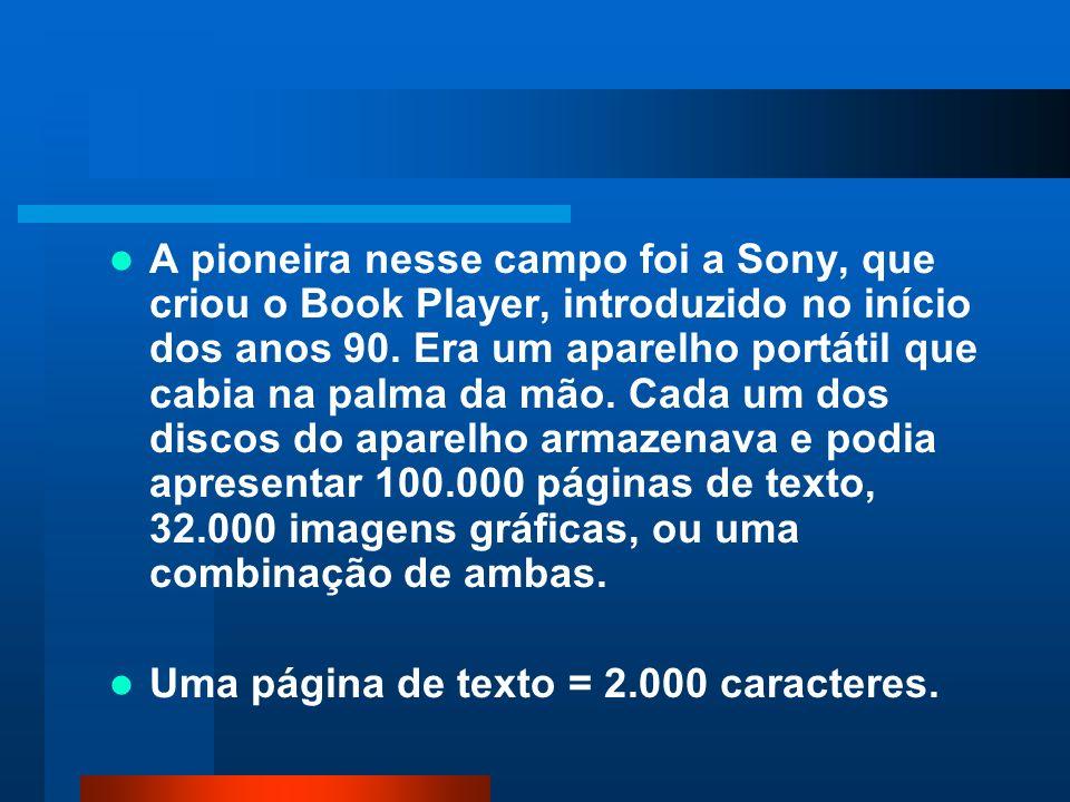 A pioneira nesse campo foi a Sony, que criou o Book Player, introduzido no início dos anos 90. Era um aparelho portátil que cabia na palma da mão. Cada um dos discos do aparelho armazenava e podia apresentar 100.000 páginas de texto, 32.000 imagens gráficas, ou uma combinação de ambas.