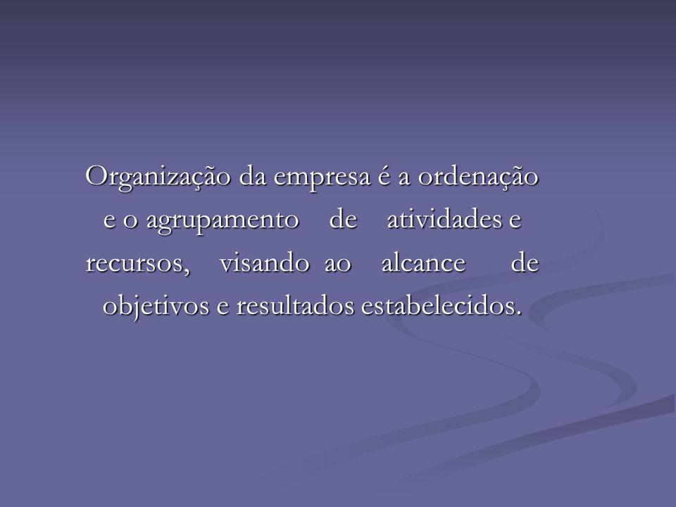 Organização da empresa é a ordenação e o agrupamento de atividades e
