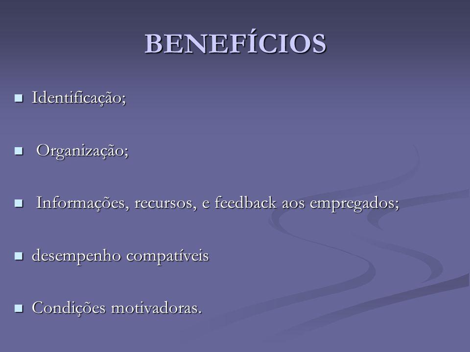 BENEFÍCIOS Identificação; Organização;