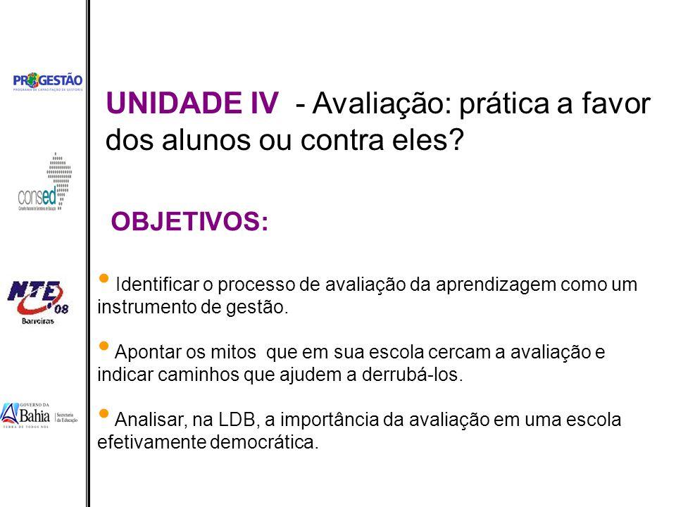 UNIDADE IV - Avaliação: prática a favor dos alunos ou contra eles