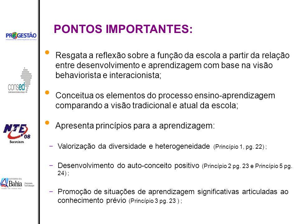 PONTOS IMPORTANTES: